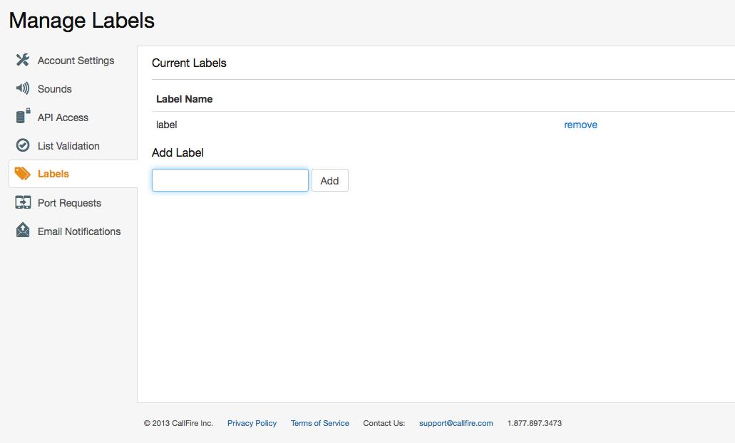 configuring labels callfire