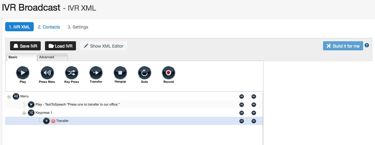 show ivr designer button callfire