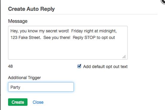 Configuring auto replies callfire