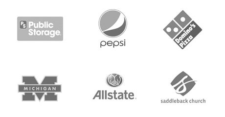 Customer logos - Public Storage, Pepsi, Domino's Pizza, Michigan, Allstate, Saddleback Church