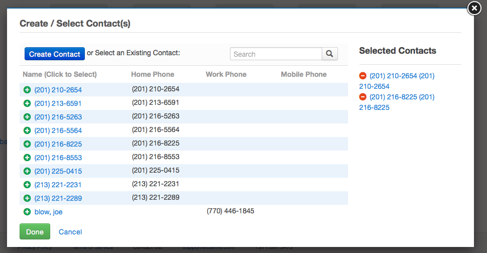 Click the red - icon to remove a contact from your list of selected choices. If you need to add a brand new contact, click the blue Create Contact button.